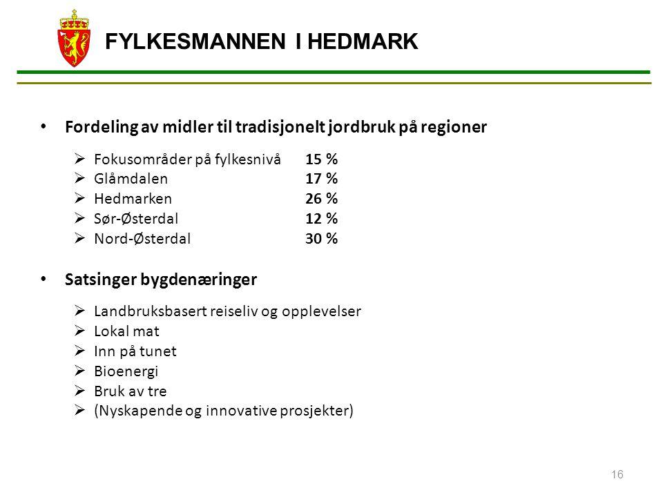 FYLKESMANNEN I HEDMARK Fordeling av midler til tradisjonelt jordbruk på regioner  Fokusområder på fylkesnivå15 %  Glåmdalen17 %  Hedmarken26 %  Sø