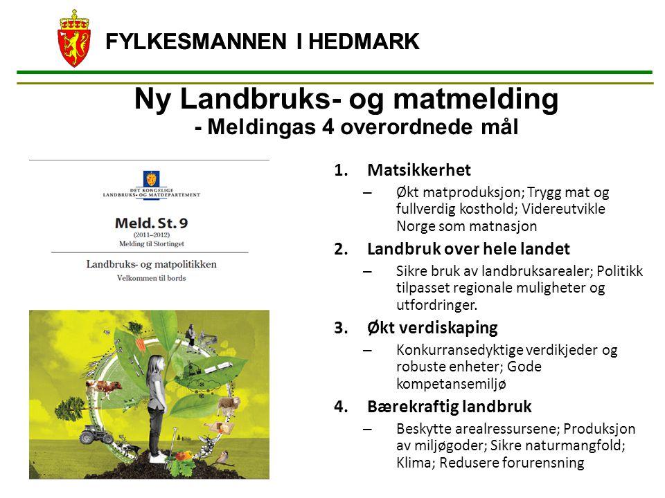 FYLKESMANNEN I HEDMARK Ny Landbruks- og matmelding - Meldingas 4 overordnede mål 1.Matsikkerhet – Økt matproduksjon; Trygg mat og fullverdig kosthold;