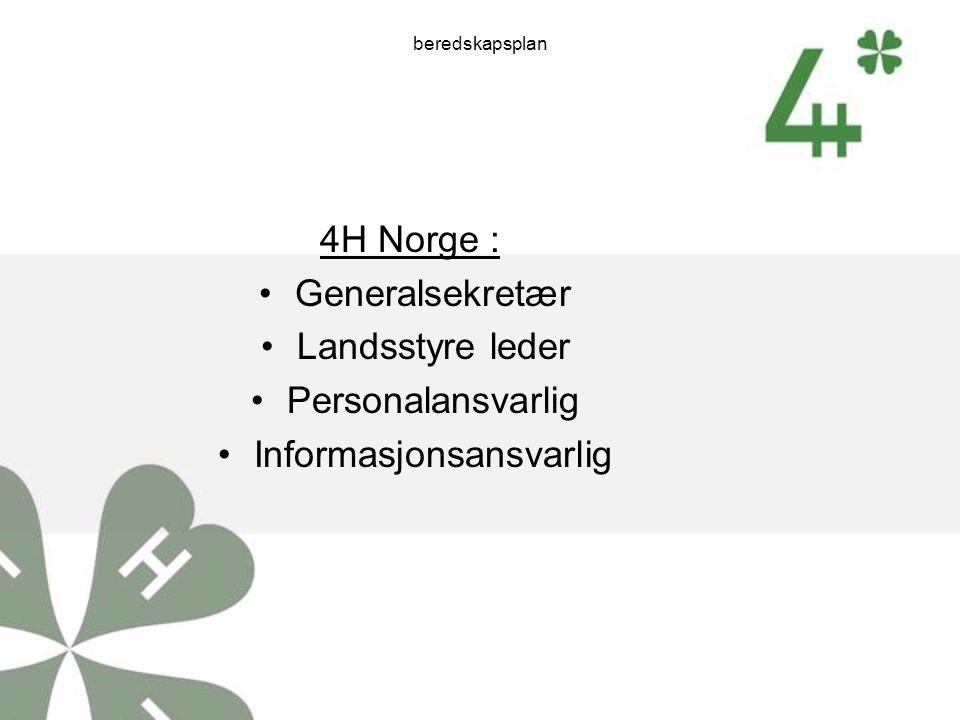 beredskapsplan 4H Norge : Generalsekretær Landsstyre leder Personalansvarlig Informasjonsansvarlig