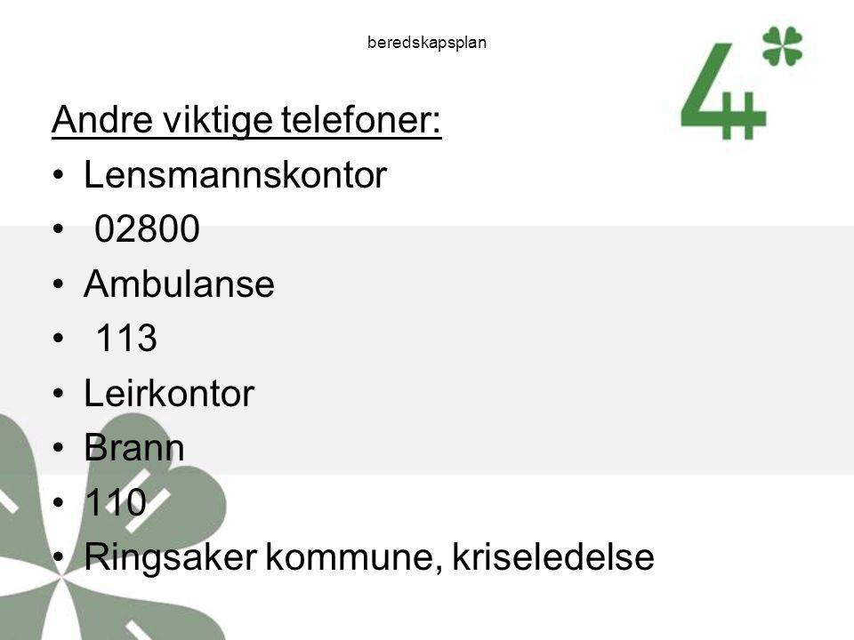 beredskapsplan Andre viktige telefoner: Lensmannskontor 02800 Ambulanse 113 Leirkontor Brann 110 Ringsaker kommune, kriseledelse