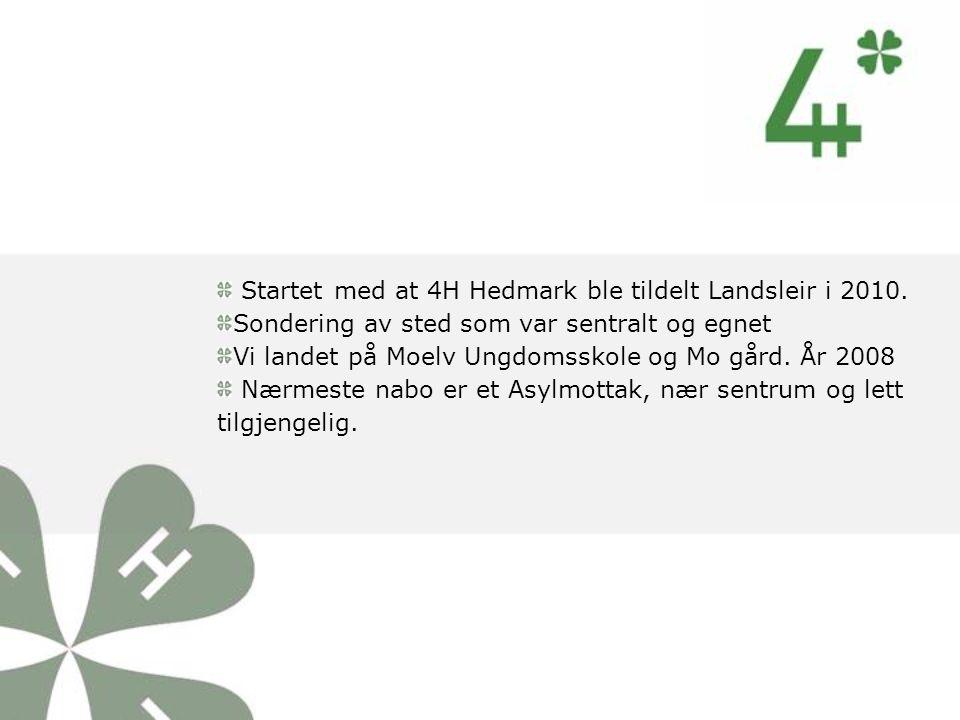 Startet med at 4H Hedmark ble tildelt Landsleir i 2010. Sondering av sted som var sentralt og egnet Vi landet på Moelv Ungdomsskole og Mo gård. År 200