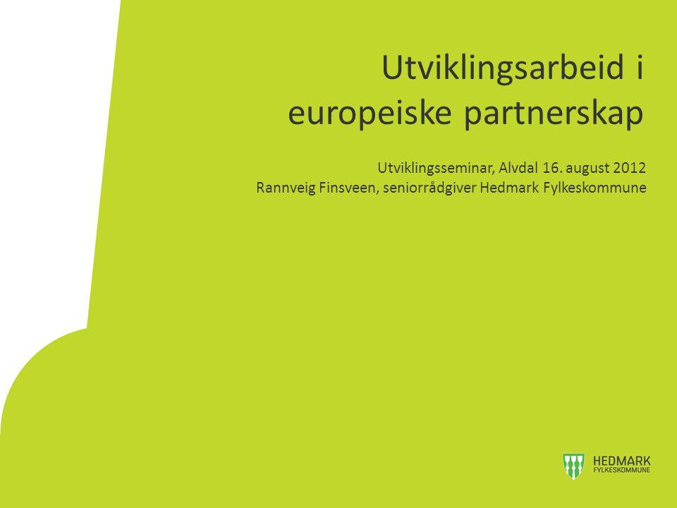Oppdrag: pådriver for internasjonalisering i Hedmark og lokalt og regionalt utviklingsarbeid gjennom europeiske partnerskapsprosjekter Organisering: Enhet for internasjonalt samarbeid.