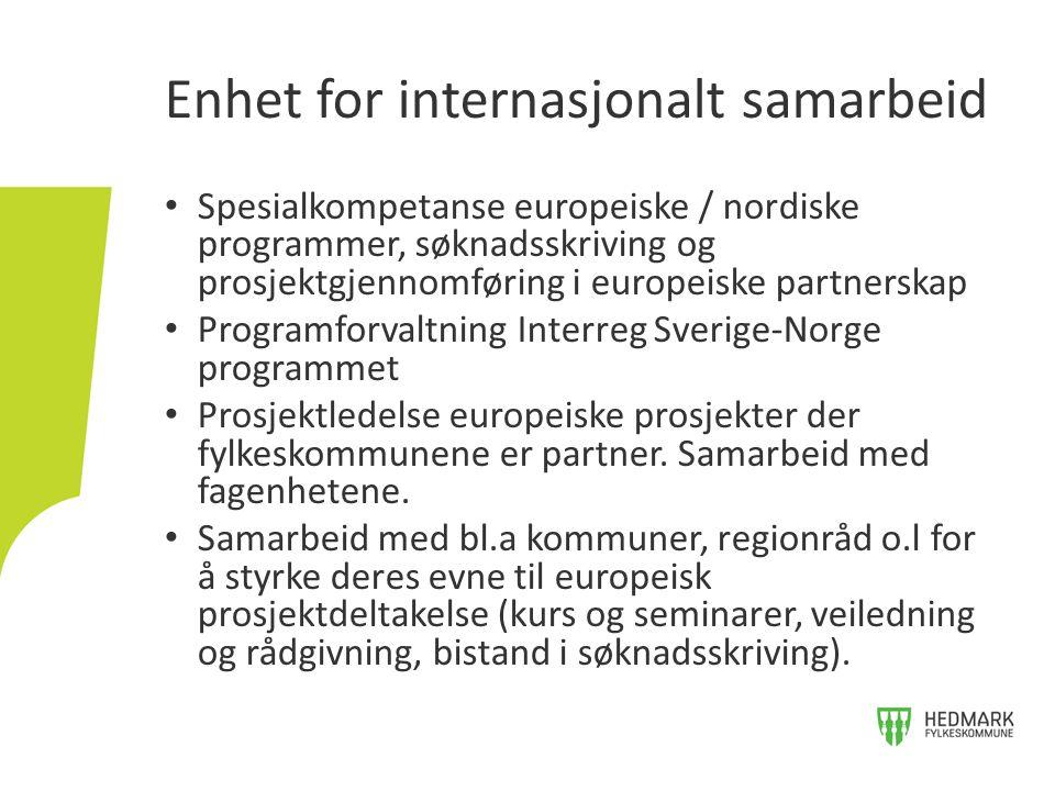 Prosjekt som arbeidsform Mange finansieringsmuligheter (EU- sektorprogrammer, Nordisk ministerråds midler, Interreg Sverige-Norge, EØS- ordningene) Europeiske partnere Lokale / regionale partnere Egnet til å styrke og utfylle pågående initiativer og satsningsområder Utviklingsarbeid i europeiske partnerskap – Hva?