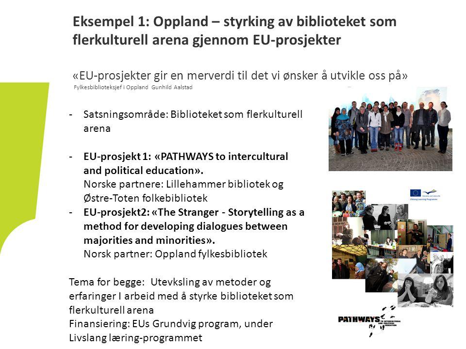 Eksempel 1: Oppland – styrking av biblioteket som flerkulturell arena gjennom EU-prosjekter «EU-prosjekter gir en merverdi til det vi ønsker å utvikle oss på» Fylkesbiblioteksjef i Oppland Gunhild Aalstad -Satsningsområde: Biblioteket som flerkulturell arena -EU-prosjekt 1: «PATHWAYS to intercultural and political education».