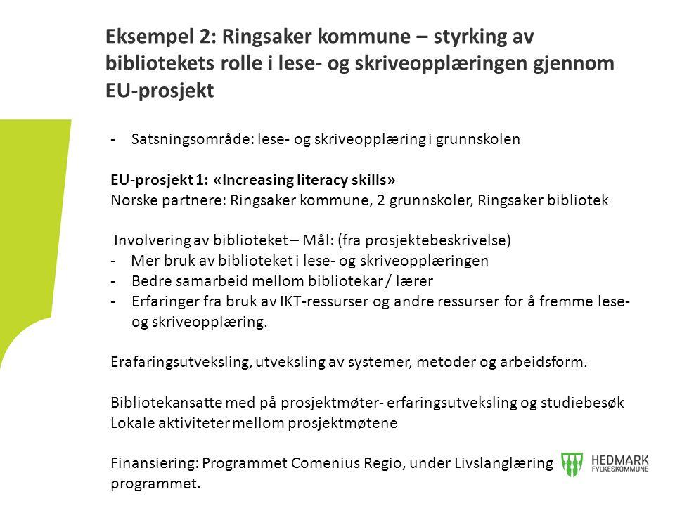 Eksempel 2: Ringsaker kommune – styrking av bibliotekets rolle i lese- og skriveopplæringen gjennom EU-prosjekt -Satsningsområde: lese- og skriveopplæ
