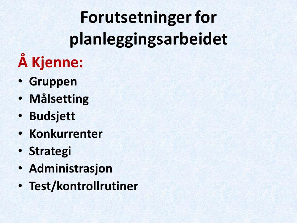 Forutsetninger for planleggingsarbeidet Å Kjenne: Gruppen Målsetting Budsjett Konkurrenter Strategi Administrasjon Test/kontrollrutiner
