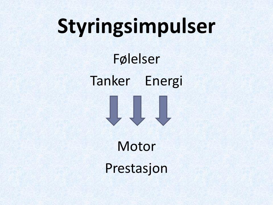 Styringsimpulser Følelser TankerEnergi Motor Prestasjon