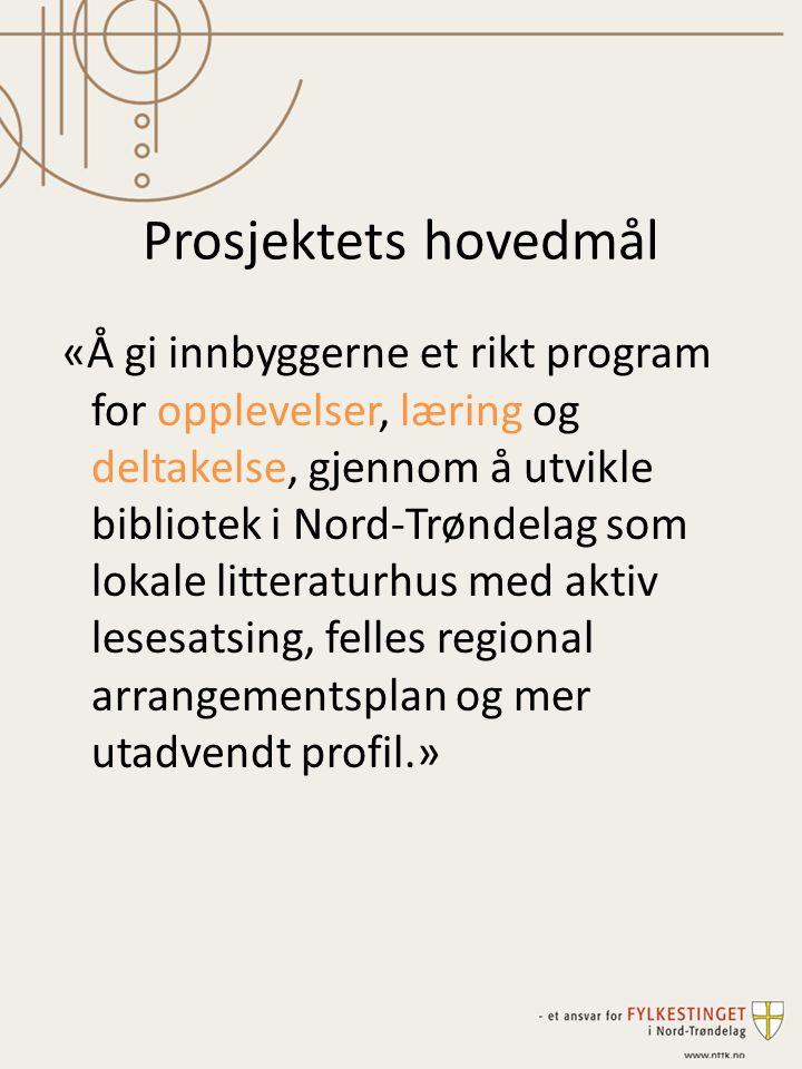 Prosjektets hovedmål «Å gi innbyggerne et rikt program for opplevelser, læring og deltakelse, gjennom å utvikle bibliotek i Nord-Trøndelag som lokale litteraturhus med aktiv lesesatsing, felles regional arrangementsplan og mer utadvendt profil.»