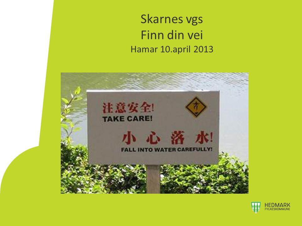 Skarnes vgs Finn din vei Hamar 10.april 2013