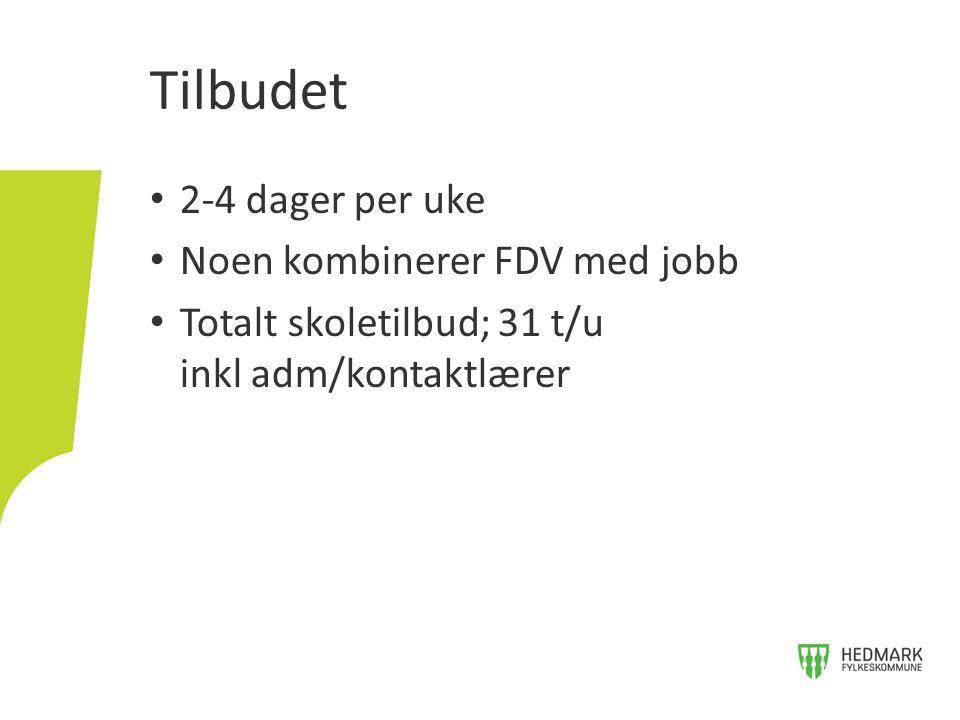 2-4 dager per uke Noen kombinerer FDV med jobb Totalt skoletilbud; 31 t/u inkl adm/kontaktlærer Tilbudet