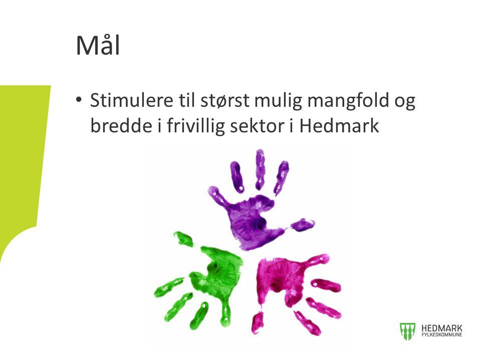 Stimulere til størst mulig mangfold og bredde i frivillig sektor i Hedmark Mål