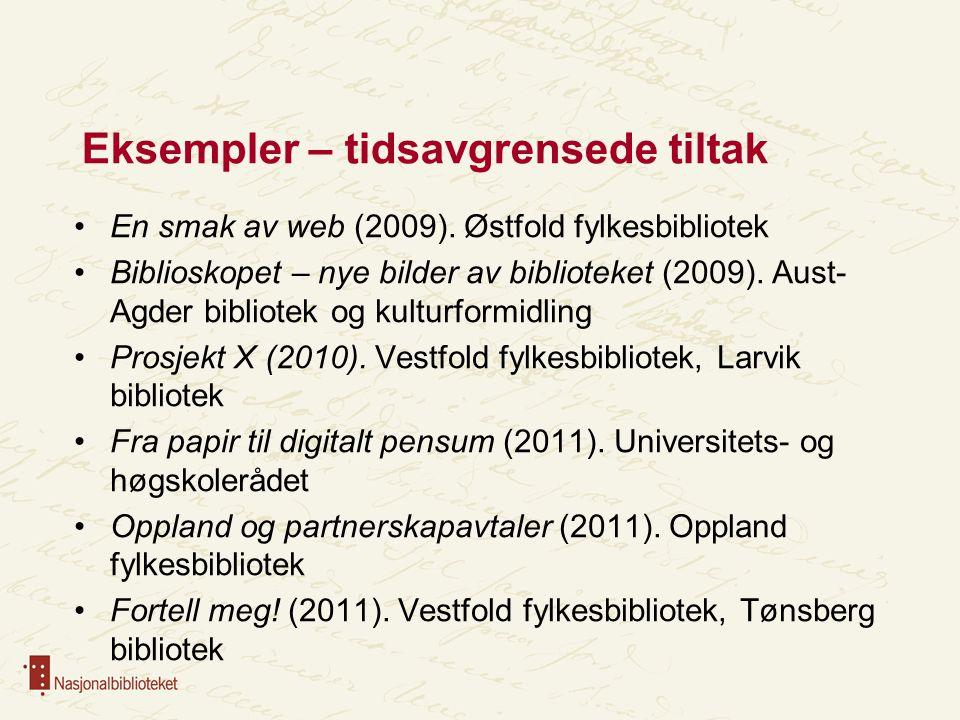 Eksempler – tidsavgrensede tiltak En smak av web (2009). Østfold fylkesbibliotek Biblioskopet – nye bilder av biblioteket (2009). Aust- Agder bibliote