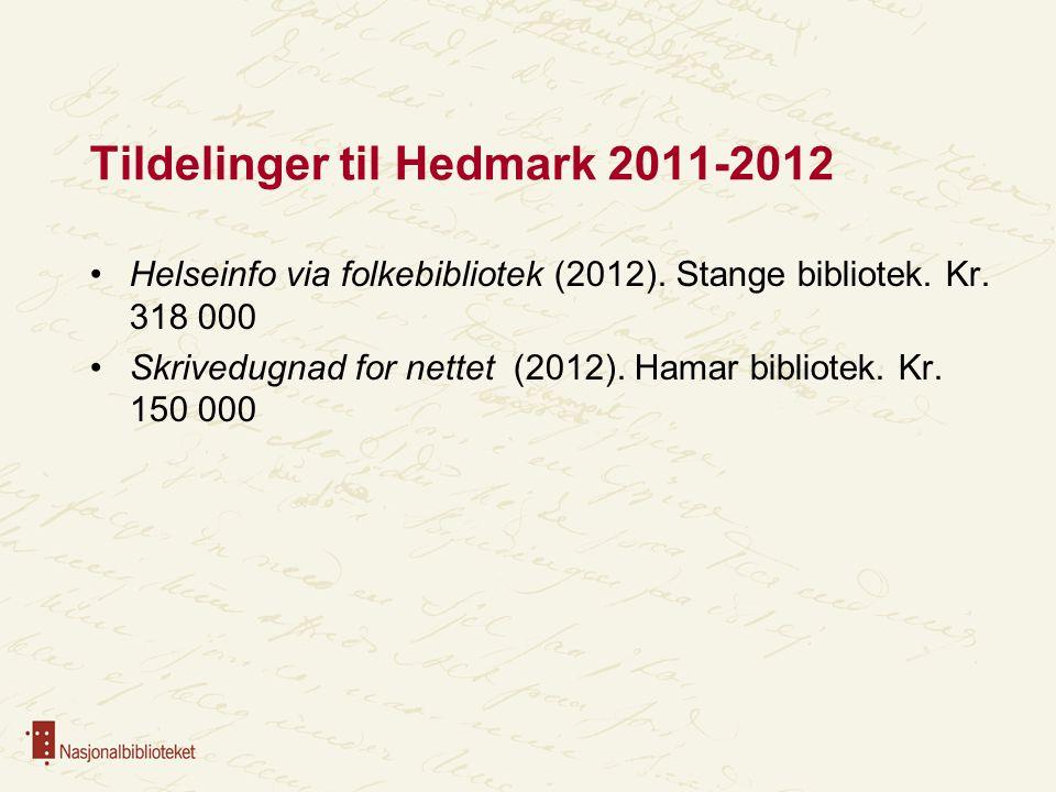 Tildelinger til Hedmark 2011-2012 Helseinfo via folkebibliotek (2012). Stange bibliotek. Kr. 318 000 Skrivedugnad for nettet (2012). Hamar bibliotek.