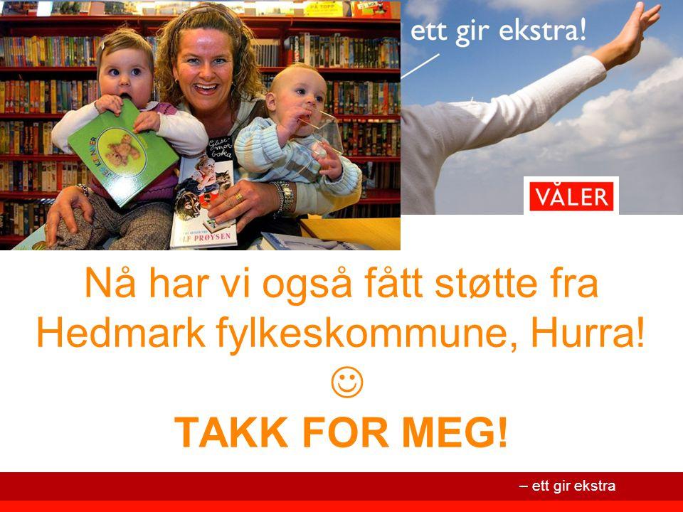 – ett gir ekstra Nå har vi også fått støtte fra Hedmark fylkeskommune, Hurra! TAKK FOR MEG!
