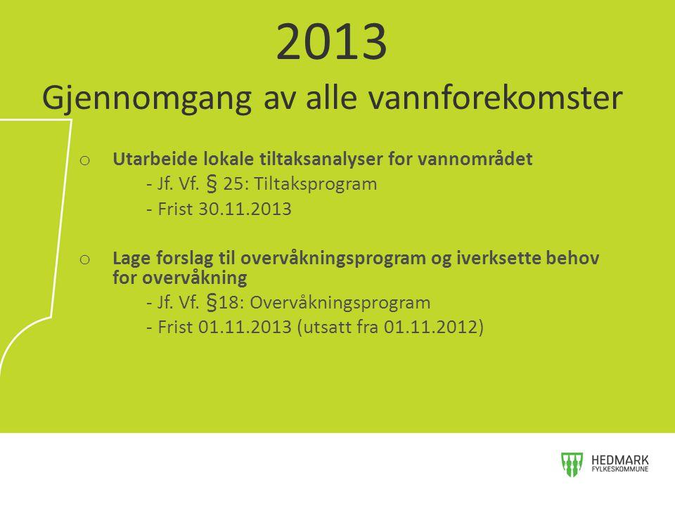 o Utarbeide lokale tiltaksanalyser for vannområdet - Jf. Vf. § 25: Tiltaksprogram - Frist 30.11.2013 o Lage forslag til overvåkningsprogram og iverkse