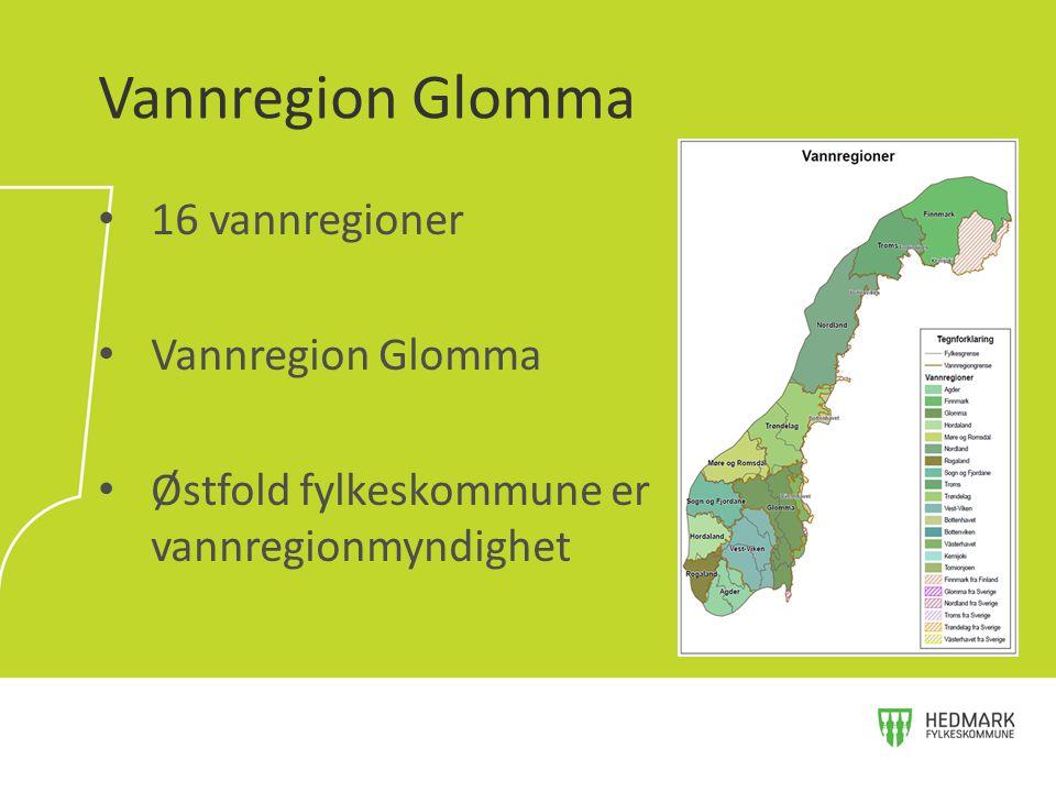 16 vannregioner Vannregion Glomma Østfold fylkeskommune er vannregionmyndighet Vannregion Glomma