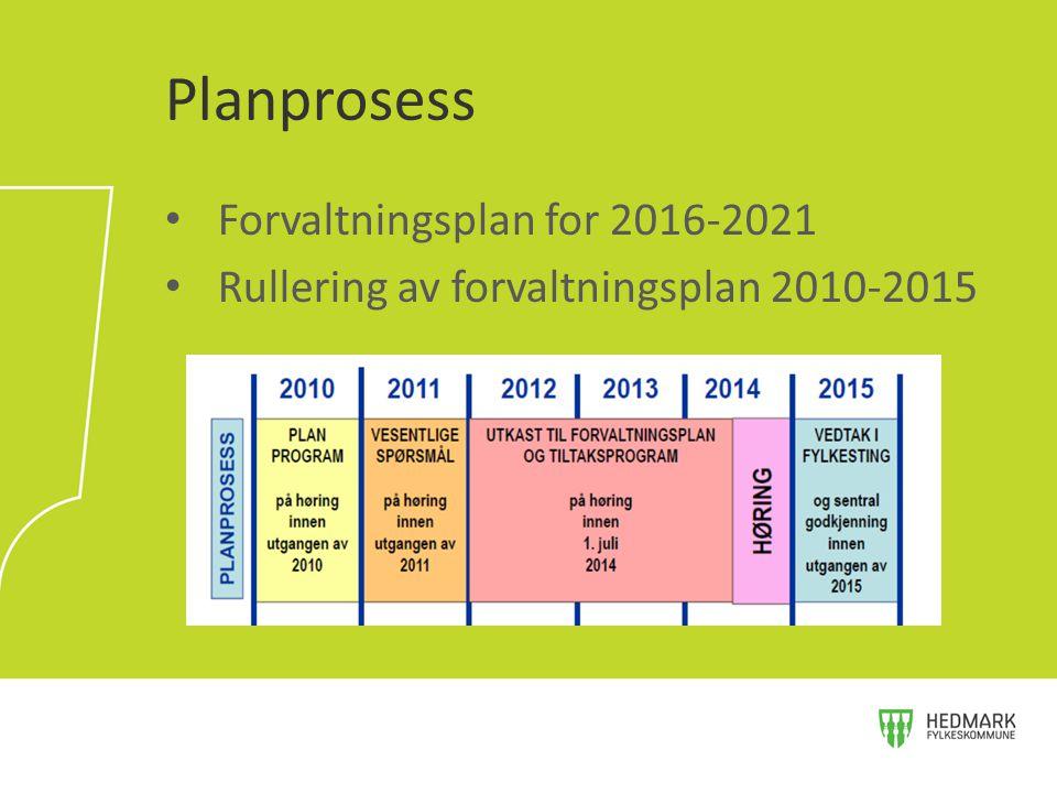 Forvaltningsplan for 2016-2021 Rullering av forvaltningsplan 2010-2015 Planprosess