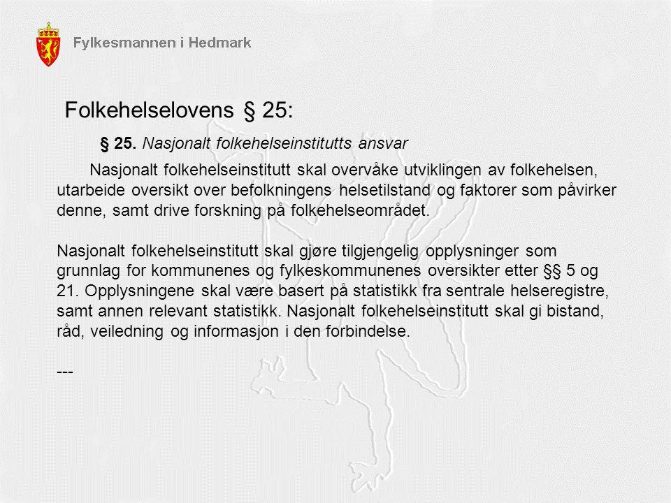 Folkehelselovens § 25: § 25. Nasjonalt folkehelseinstitutts ansvar Nasjonalt folkehelseinstitutt skal overvåke utviklingen av folkehelsen, utarbeide o