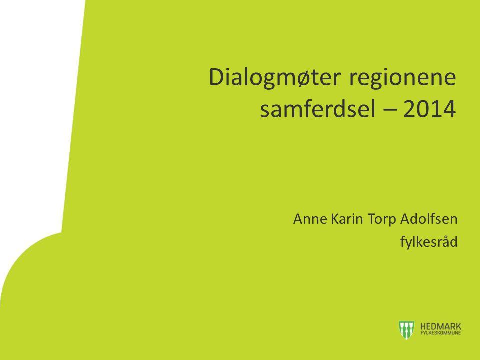 Dialogmøter regionene samferdsel – 2014 Anne Karin Torp Adolfsen fylkesråd
