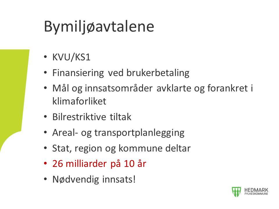 KVU/KS1 Finansiering ved brukerbetaling Mål og innsatsområder avklarte og forankret i klimaforliket Bilrestriktive tiltak Areal- og transportplanleggi