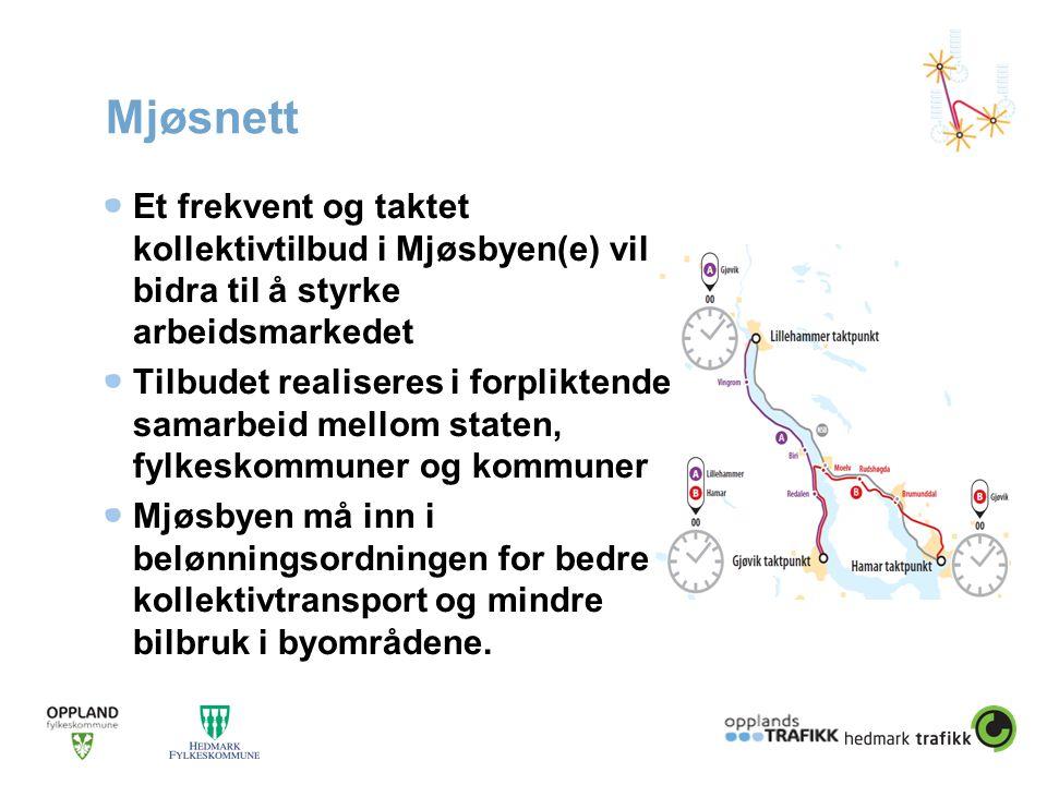 Mjøsnett Et frekvent og taktet kollektivtilbud i Mjøsbyen(e) vil bidra til å styrke arbeidsmarkedet Tilbudet realiseres i forpliktende samarbeid mello