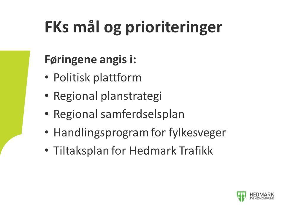 Føringene angis i: Politisk plattform Regional planstrategi Regional samferdselsplan Handlingsprogram for fylkesveger Tiltaksplan for Hedmark Trafikk