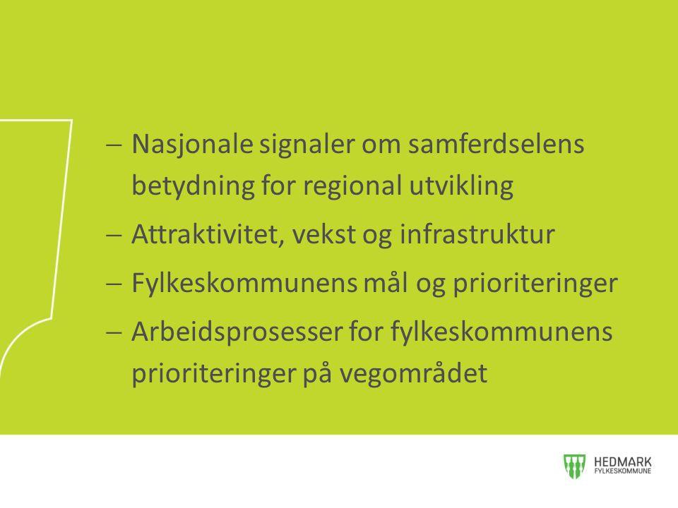  Nasjonale signaler om samferdselens betydning for regional utvikling  Attraktivitet, vekst og infrastruktur  Fylkeskommunens mål og prioriteringer
