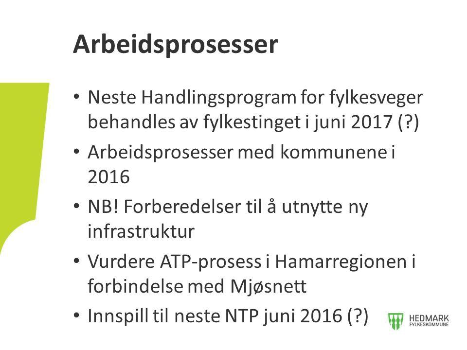 Neste Handlingsprogram for fylkesveger behandles av fylkestinget i juni 2017 (?) Arbeidsprosesser med kommunene i 2016 NB! Forberedelser til å utnytte