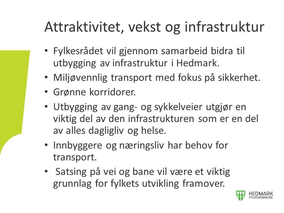 Fylkesrådet vil gjennom samarbeid bidra til utbygging av infrastruktur i Hedmark. Miljøvennlig transport med fokus på sikkerhet. Grønne korridorer. Ut