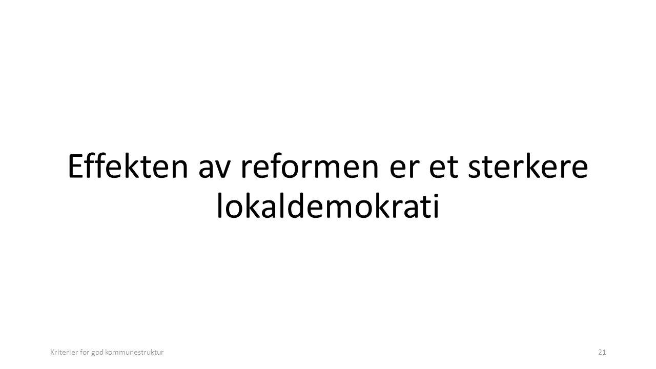 Effekten av reformen er et sterkere lokaldemokrati Kriterier for god kommunestruktur21