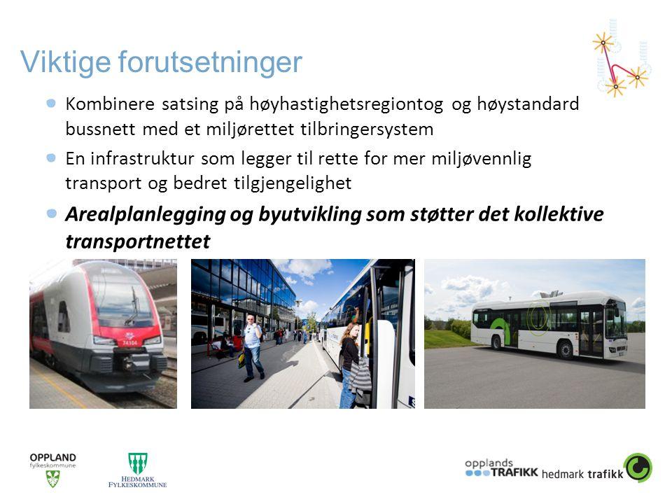 Viktige forutsetninger Kombinere satsing på høyhastighetsregiontog og høystandard bussnett med et miljørettet tilbringersystem En infrastruktur som legger til rette for mer miljøvennlig transport og bedret tilgjengelighet Arealplanlegging og byutvikling som støtter det kollektive transportnettet