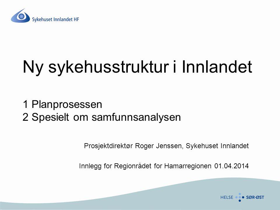 Ny sykehusstruktur i Innlandet 1 Planprosessen 2 Spesielt om samfunnsanalysen Prosjektdirektør Roger Jenssen, Sykehuset Innlandet Innlegg for Regionrå