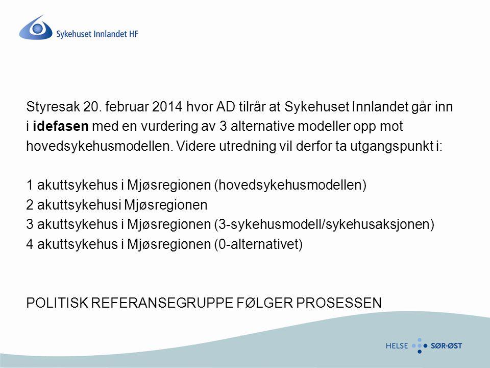 Styresak 20. februar 2014 hvor AD tilrår at Sykehuset Innlandet går inn i idefasen med en vurdering av 3 alternative modeller opp mot hovedsykehusmode