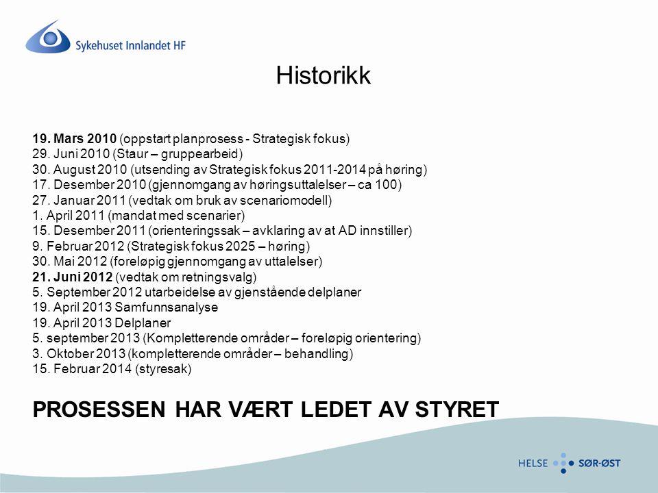 Historikk 19. Mars 2010 (oppstart planprosess - Strategisk fokus) 29. Juni 2010 (Staur – gruppearbeid) 30. August 2010 (utsending av Strategisk fokus