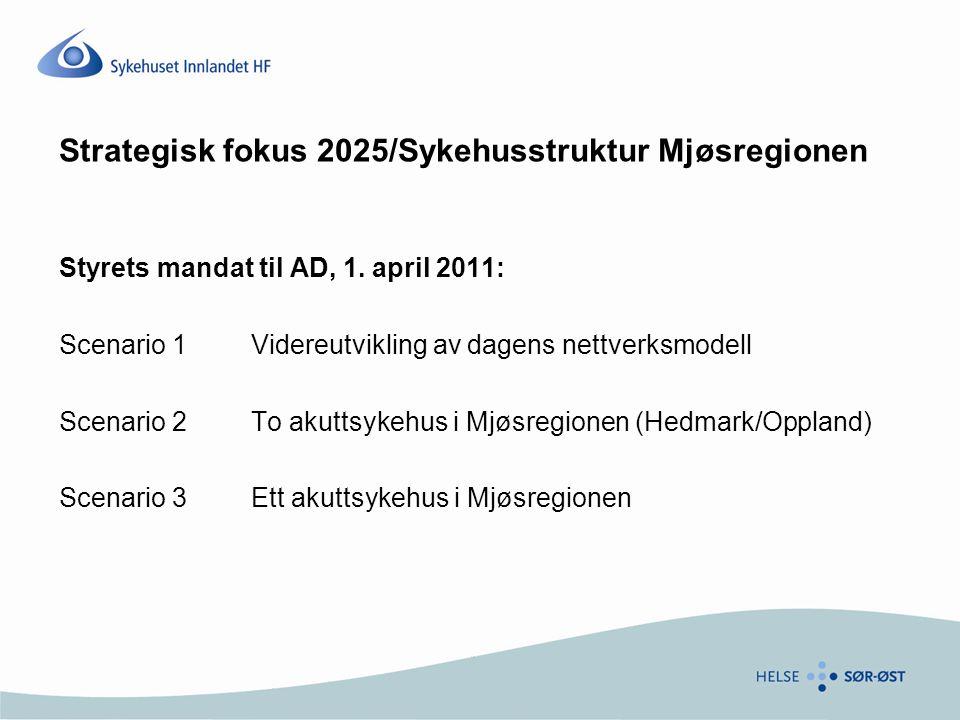 Strategisk fokus 2025/Sykehusstruktur Mjøsregionen Styrets mandat til AD, 1.