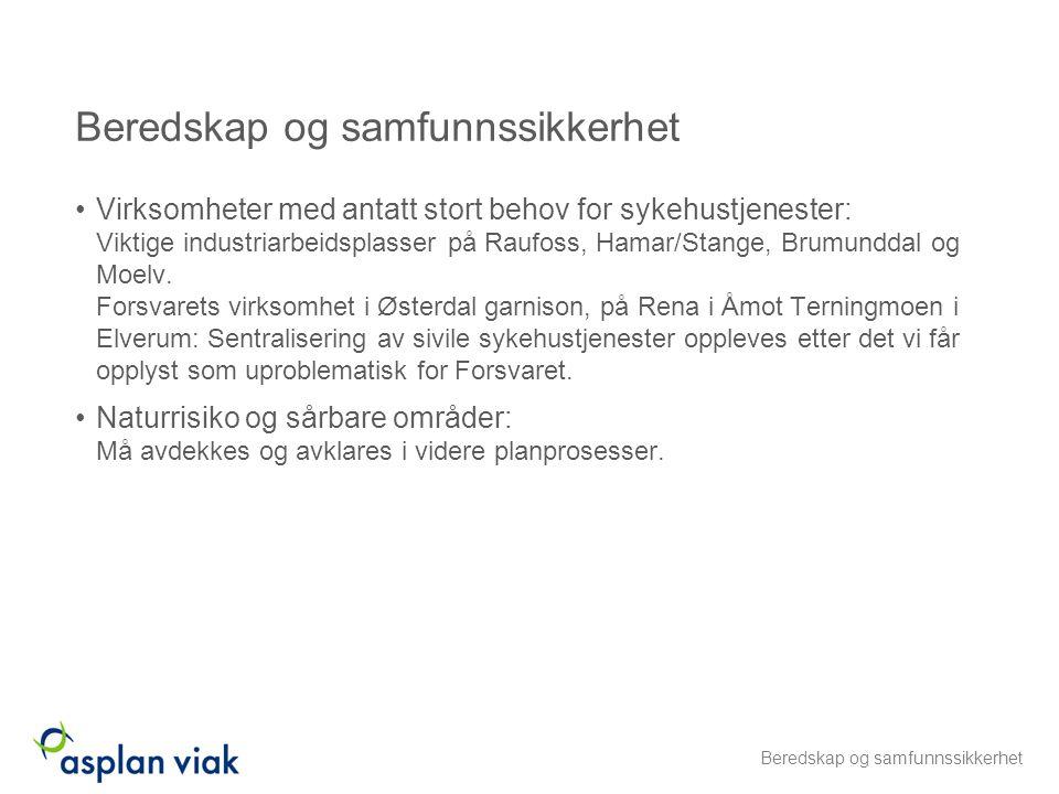 Virksomheter med antatt stort behov for sykehustjenester: Viktige industriarbeidsplasser på Raufoss, Hamar/Stange, Brumunddal og Moelv. Forsvarets vir