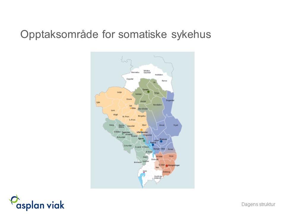 Opptaksområde for somatiske sykehus Dagens struktur