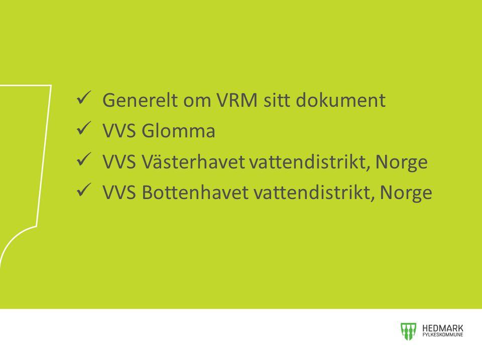 Generelt om VRM sitt dokument VVS Glomma VVS Västerhavet vattendistrikt, Norge VVS Bottenhavet vattendistrikt, Norge