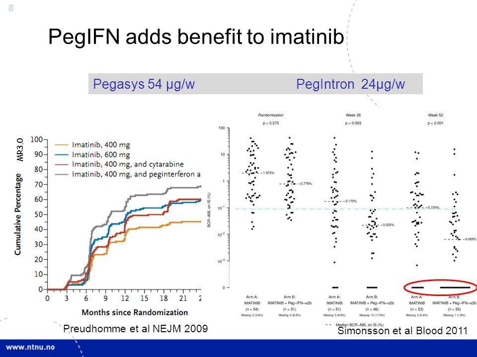 8 Imatinib +/- PegIntron Simonsson, Blood 2011 Pegasys 54 µg/w PegIntron 24µg/w PegIFN adds benefit to imatinib Preudhomme et al NEJM 2009 Simonsson e