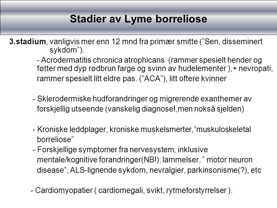 Problemer i diagnostikk I tidlig fase ofte negative borreliaprøver (påviser immunreaksjonen i kroppen, ikke bakterien!).