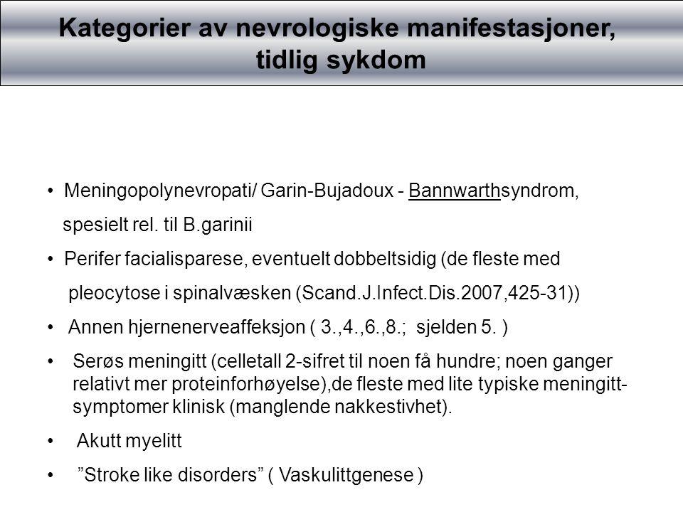 Kategorier av nevrologiske manifestasjoner, Sene/kroniske former Progressive encefalomyelitter Lyme encefalopati ,f.eks manifestert ved kognitive symptomer Intracerebral vaskulitt, ischemi/infarkt MS-lignende sykdomsbilder Primær lateral sklerose (meget sjelden motor nevron sykdom) Amyotrofisk lateralsklerose- lignende tilstander Kognitiv svikt/demens (diff.diag.