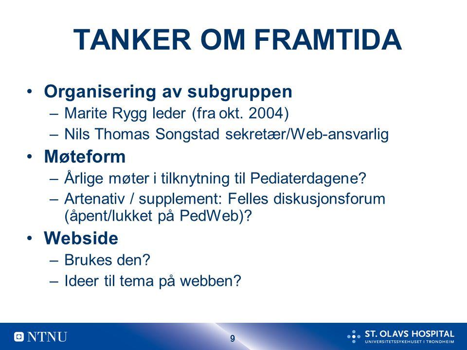 9 TANKER OM FRAMTIDA Organisering av subgruppen –Marite Rygg leder (fra okt. 2004) –Nils Thomas Songstad sekretær/Web-ansvarlig Møteform –Årlige møter