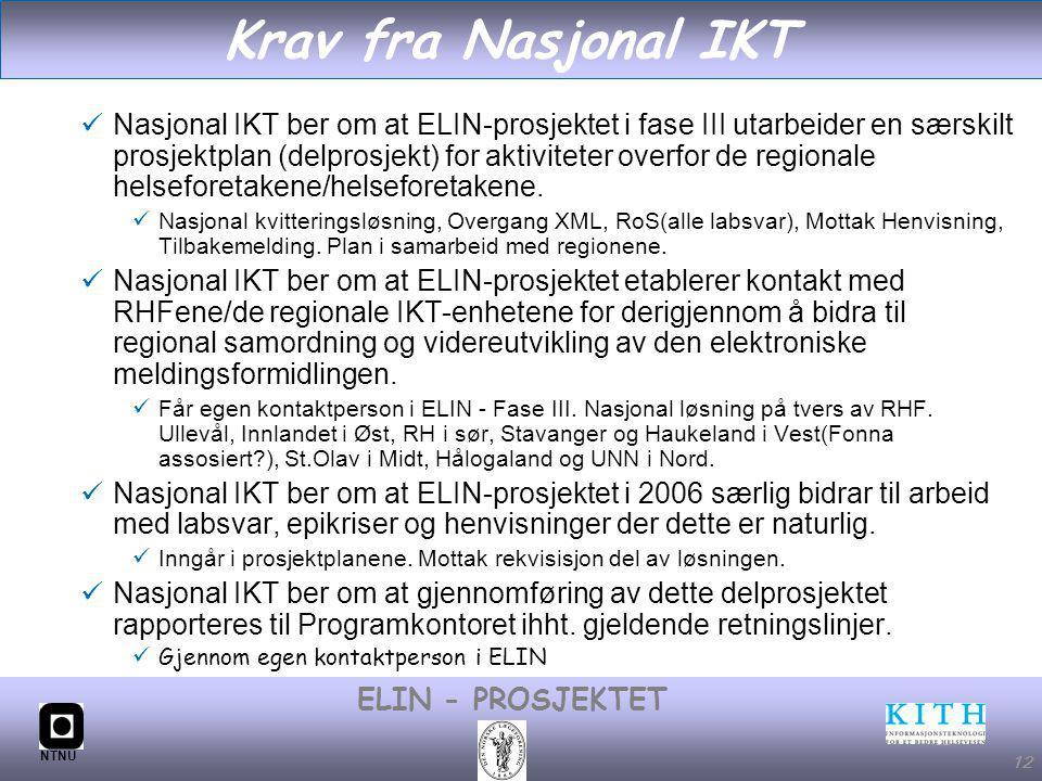#12 ELIN - PROSJEKTET NTNU 12 Krav fra Nasjonal IKT Nasjonal IKT ber om at ELIN-prosjektet i fase III utarbeider en særskilt prosjektplan (delprosjekt) for aktiviteter overfor de regionale helseforetakene/helseforetakene.