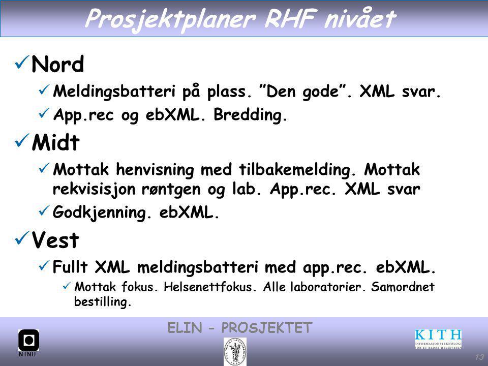 #13 ELIN - PROSJEKTET NTNU 13 Prosjektplaner RHF nivået Nord Meldingsbatteri på plass.