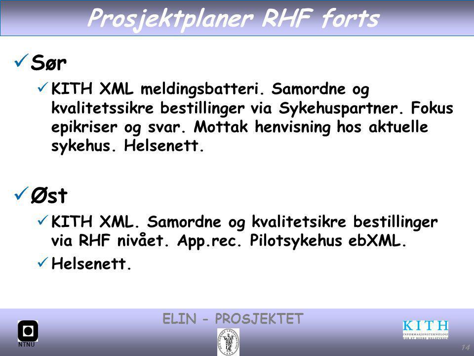 #14 ELIN - PROSJEKTET NTNU 14 Prosjektplaner RHF forts Sør KITH XML meldingsbatteri.