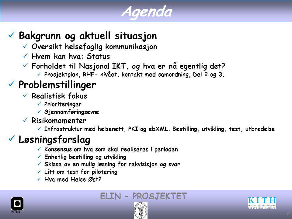 #2 ELIN - PROSJEKTET NTNU 2 Agenda Bakgrunn og aktuell situasjon Oversikt helsefaglig kommunikasjon Hvem kan hva: Status Forholdet til Nasjonal IKT, og hva er nå egentlig det.