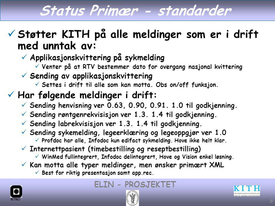 #8 ELIN - PROSJEKTET NTNU 8 Status Primær - standarder Støtter KITH på alle meldinger som er i drift med unntak av: Applikasjonskvittering på sykmelding Venter på at RTV bestemmer dato for overgang nasjonal kvittering Sending av applikasjonskvittering Settes i drift til alle som kan motta.