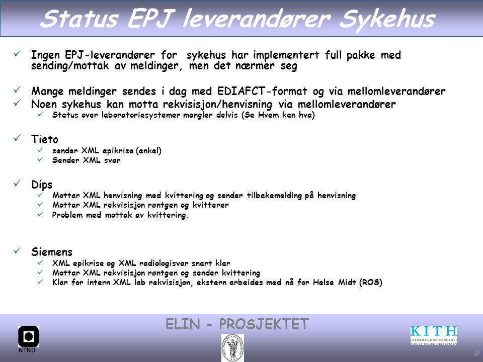 #9 ELIN - PROSJEKTET NTNU 9 Status EPJ leverandører Sykehus Ingen EPJ-leverandører for sykehus har implementert full pakke med sending/mottak av meldinger, men det nærmer seg Mange meldinger sendes i dag med EDIAFCT-format og via mellomleverandører Noen sykehus kan motta rekvisisjon/henvisning via mellomleverandører Status over laboratoriesystemer mangler delvis (Se Hvem kan hva) Tieto sender XML epikrise (enkel) Sender XML svar Dips Mottar XML henvisning med kvittering og sender tilbakemelding på henvisning Mottar XML rekvisisjon røntgen og kvitterer Problem med mottak av kvittering.