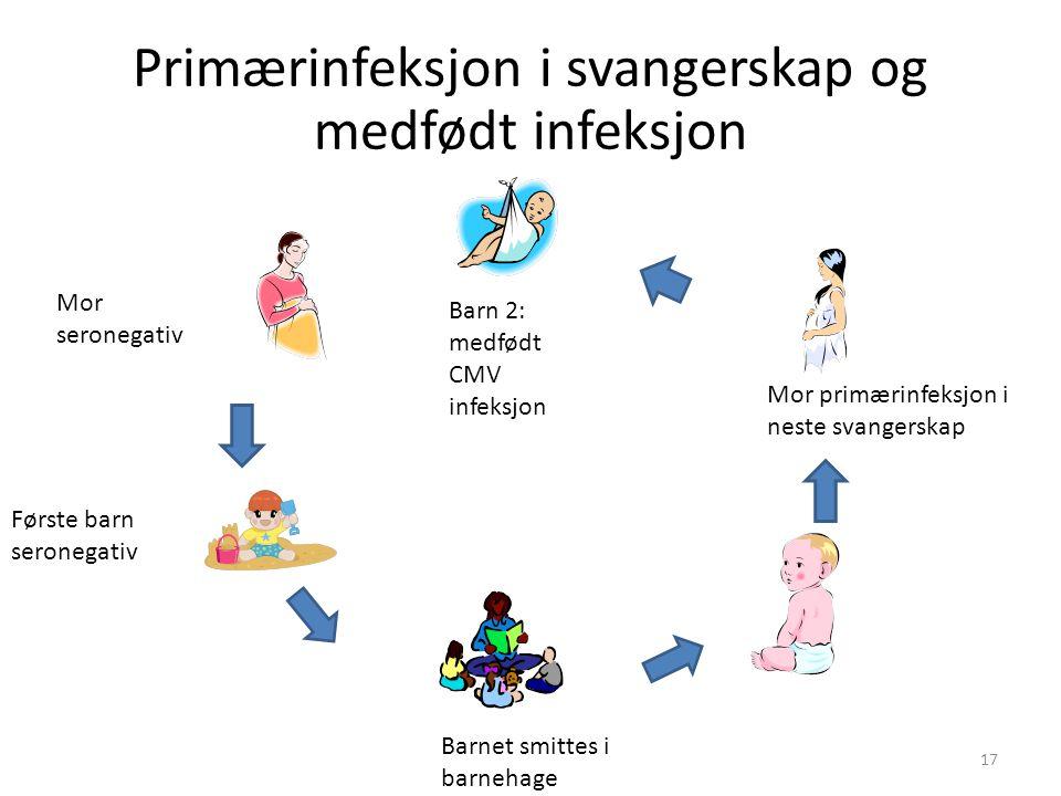 Mor seronegativ Første barn seronegativ Barnet smittes i barnehage Mor primærinfeksjon i neste svangerskap Barn 2: medfødt CMV infeksjon 17 Primærinfeksjon i svangerskap og medfødt infeksjon