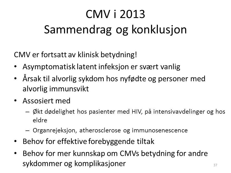 CMV i 2013 Sammendrag og konklusjon CMV er fortsatt av klinisk betydning.